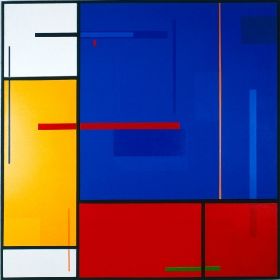 red-line-on-blue-Acrylic-on-canvas-1983